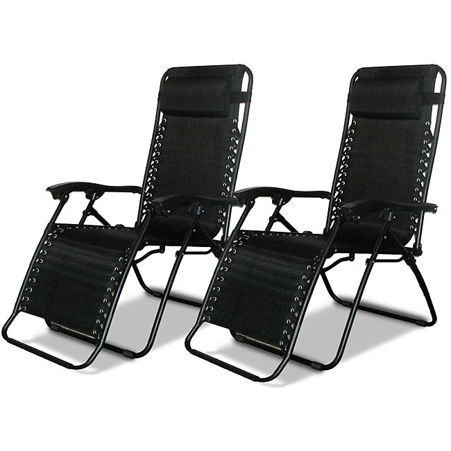 Caravan Canopy Black Zero-Gravity Chairs (Pack of Two)  sc 1 st  Overstock.com : caravan canopy oversized zero gravity recliner - islam-shia.org