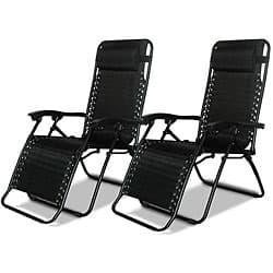 Caravan Canopy Black Zero-Gravity Chairs (Pack of Two)