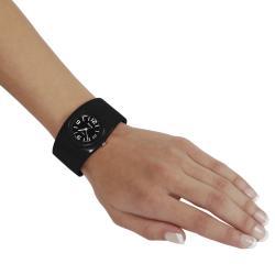 Geneva Women's Platinum Black Hinged Watch