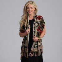Embroidered Velvet/ Silk Fringed Scarf