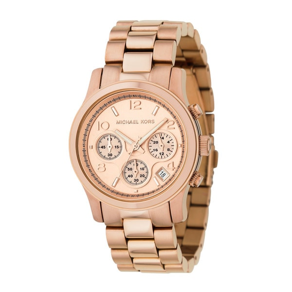 bdd891e25551 Shop Michael Kors Women s MK5128 Chronograph Rose Goldtone Watch ...