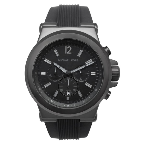 06bba2f5b300 Shop Michael Kors Men s MK8152 Black Silicone Strap Watch - Free ...