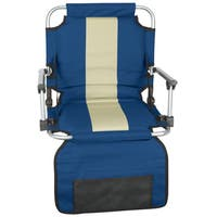 Stansport Blue/ Tan Stripe Armed Stadium Seat