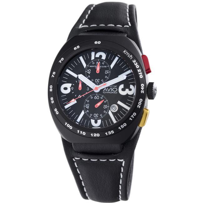 Montres De Luxe Men's 'Black Avio' Chronograph Watch