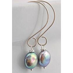 Sterling Silver Grey Freshwater Pearl Dangle Earrings