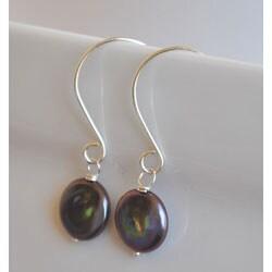 Sterling Silver Peacock Freshwater Pearl Dangle Earrings