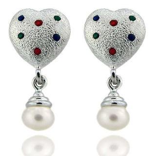 Dolce Giavonna Sterling Silver Enamel and Freshwater Pearl Heart Dangle Earrings