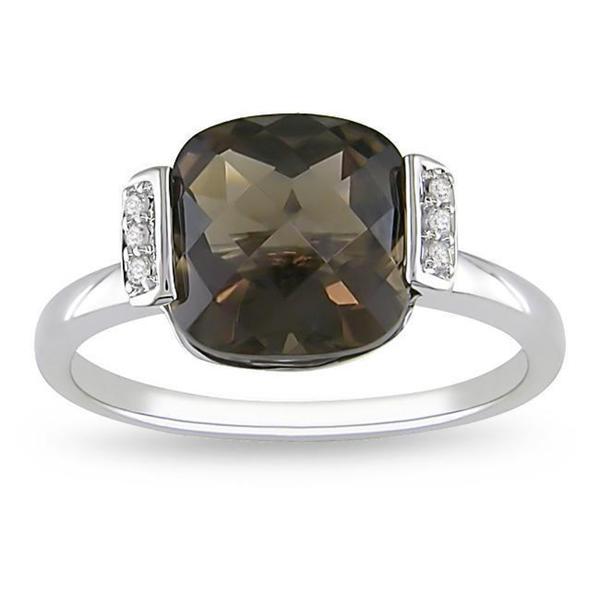 Miadora 10k White Gold Smoky Quartz and Diamond Fashion Ring