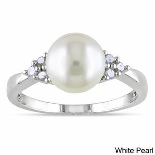 Miadora Silver Freshwater Pearl and 1/8ct TDW Diamond Ring (H-I, I2-I3)