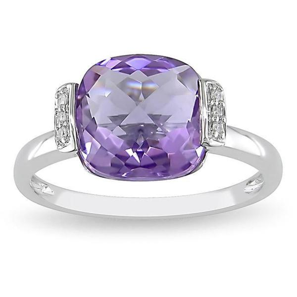 Miadora 10k White Gold Amethyst and Diamond Fashion Ring