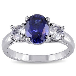 Miadora Sterling Silver Created Blue and White Sapphire 3-Stone Engagement Ring