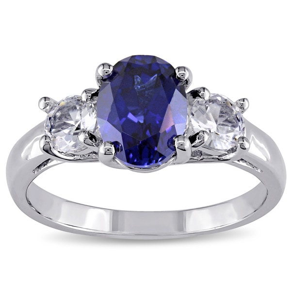 c33f1d84e8 Miadora Sterling Silver Created Blue and White Sapphire 3-Stone Engagement  Ring