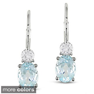 Miadora Sterling Silver Gemstone and White Sapphire Earrings