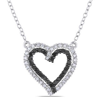 Silver 1/3ct TDW Black and White Diamond Heart Necklace