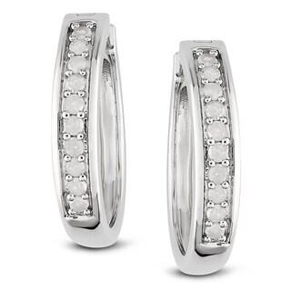 Miadora Sterling Silver 1/3ct TDW Diamond Earrings