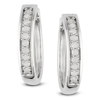 Miadora Sterling Silver 1/3ct TDW Diamond Earrings