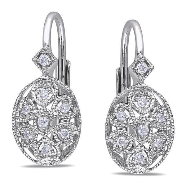 Miadora Sterling Silver 1/8ct TDW Diamond Earrings