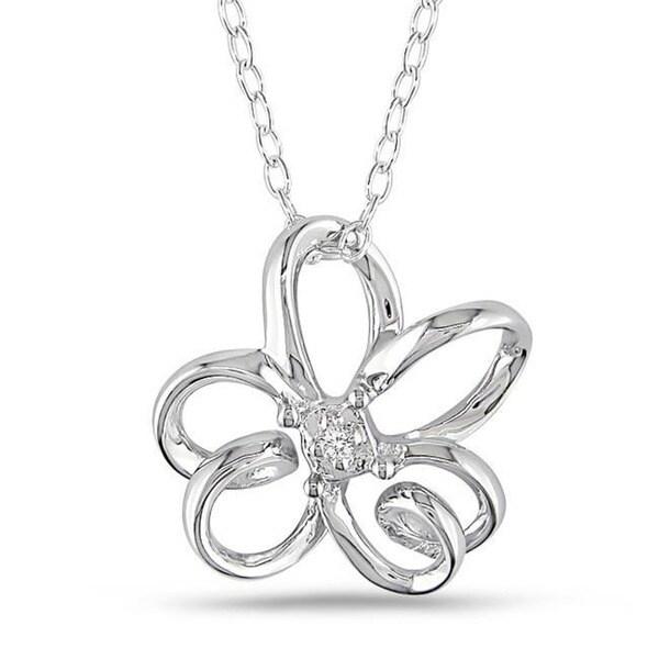 Miadora Sterling Silver Diamond Flower Necklace (G-H I2-I3)