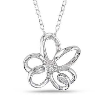 Miadora Sterling Silver Diamond Flower Necklace