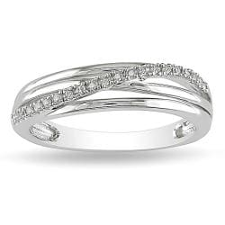 Miadora Sterling Silver Diamond Crossover Ring