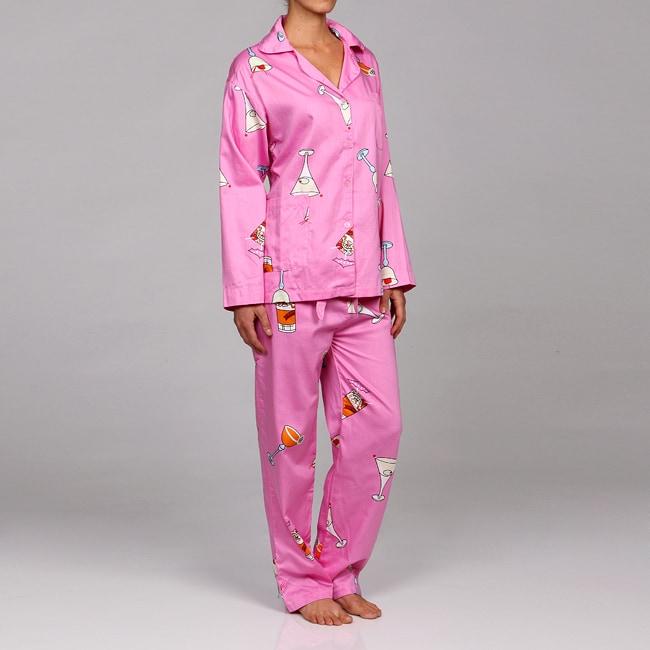 Aegean Women's Plus Cocktail Night Print Pajamas