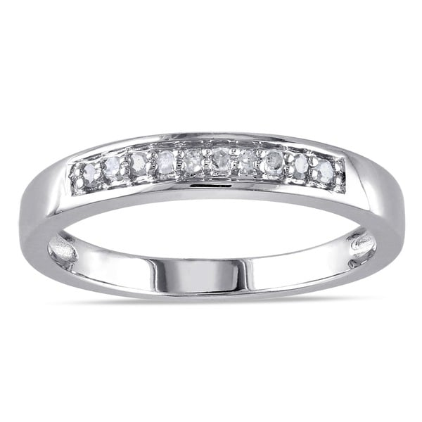 Miadora Sterling Silver 1/10ct TDW Diamond Ring (H-I, I2-I3)