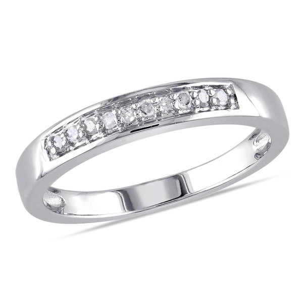 Miadora Sterling Silver 1/10ct TDW Diamond Ring
