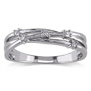 Miadora Sterling Silver Diamond Fashion Ring