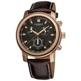 Akribos XXIV Men's Coronis Stainless Steel Chronograph Rose-Tone Watch