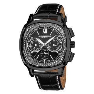 Akribos XXIV Men's Water-Resistant Multifunction Diamond Swiss Quartz Square Strap Watch