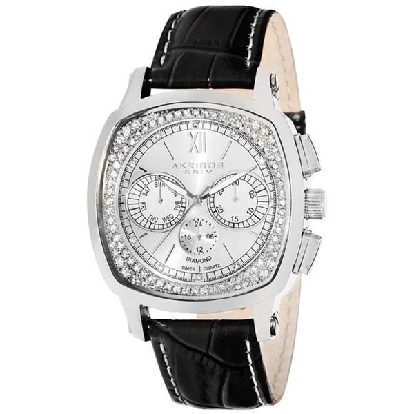 Akribos XXIV Men's Multifunction Diamond Silver-Tone Watch