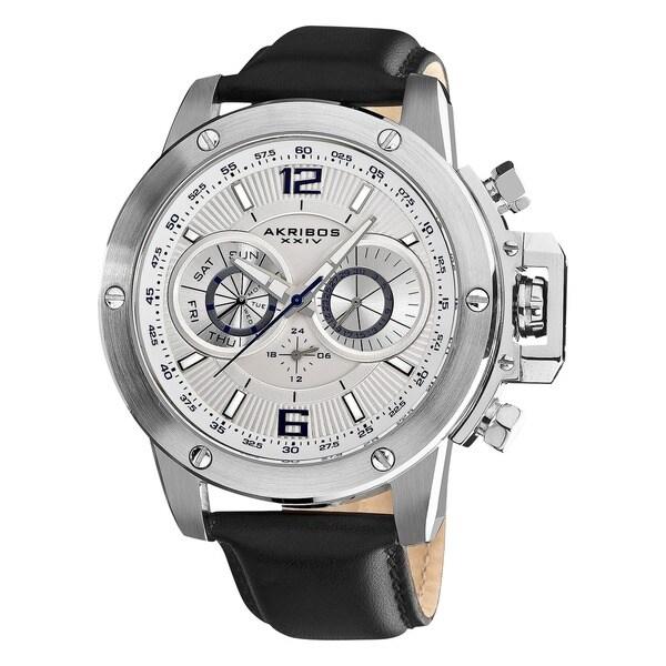 Akribos XXIV Men's Multifunction Stainless Steel Swiss Quartz White Strap Watch