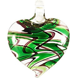 Murano Inspired Glass Green Swirl Heart Pendant
