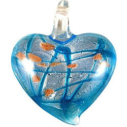 Murano Inspired Glass Aqua Blue and Silver with Gold Flecks Heart Pendant