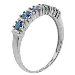 14k White Gold 1/2ct TDW Blue Diamond 5-stone Band - Thumbnail 1