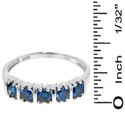 14k White Gold 1/2ct TDW Blue Diamond 5-stone Band - Thumbnail 2