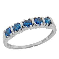 14k White Gold 1/2ct TDW Blue Diamond 5-stone Band