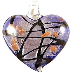 Murano Inspired Glass Blue, Silver and Black Heart Pendant