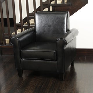 Freemont Bonded Leather Black Club Chair by Christopher Knight Home