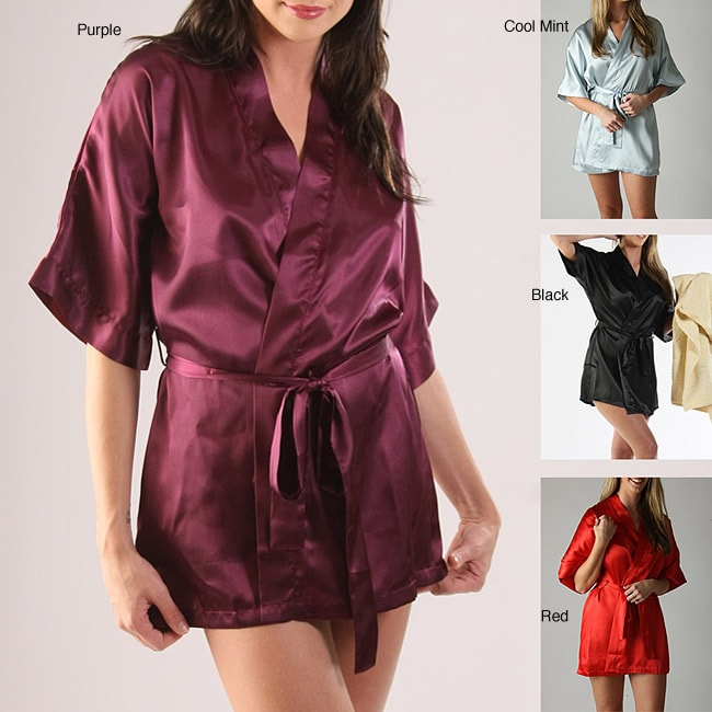 Classic Women's Short Satin Lounge Robe