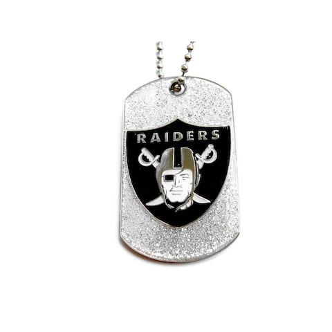 Oakland Raiders Glitter Dog Tag Necklace