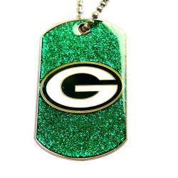 Green Bay Packers Fan Glitter Dog Tag Necklace - Thumbnail 0