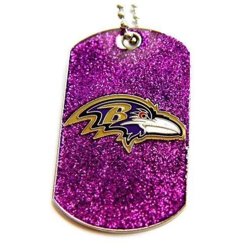 Baltimore Ravens Fan Glitter Dog Tag Necklace