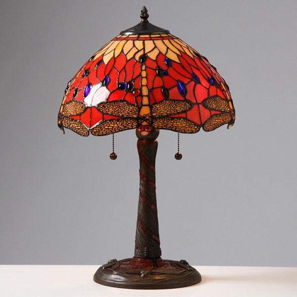 Shop Tiffany Style Red Dragonfly Lamp W Mosaic Base
