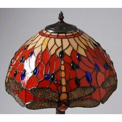 Tiffany Style Red Dragonfly Lamp w/ Mosaic Base - Thumbnail 1