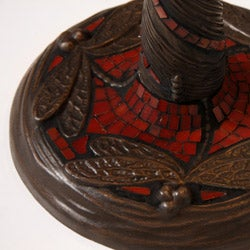 Tiffany Style Red Dragonfly Lamp w/ Mosaic Base - Thumbnail 2