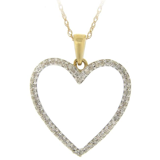 DB Designs 10k Gold 1/5ct TDW Diamond Heart Necklace (I-J, I2-I3)