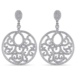 Miadora Signature Collection 18k White Gold 1 1/2ct TDW Diamond Dangle Earrings