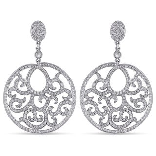 Miadora Signature Collection 18k White Gold 1 1/2ct TDW Diamond Dangle Earrings