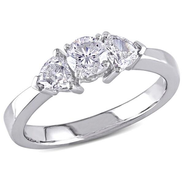 Miadora 18k White Gold 1ct TDW Diamond 3-stone Ring (G-H, SI1-SI2)